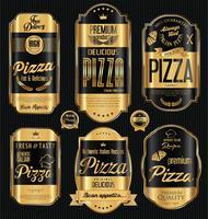 Pizza bakgrund retro design vektor