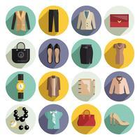 affärskvinna kläder ikoner uppsättning vektor