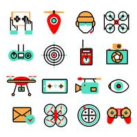 drones icon set vektor