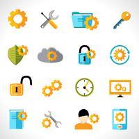 Inställningar ikoner platt