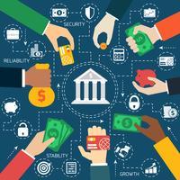 Business händer finansiellt flödesdiagram