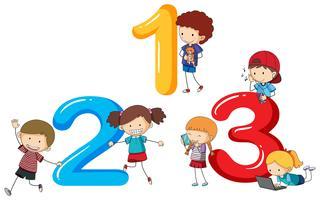 Schriftgestaltung für die Nummern eins bis drei