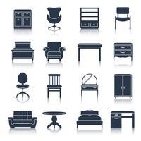 Möbel-Icons schwarz