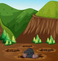 Maulwurf, der Loch in der Natur gräbt vektor