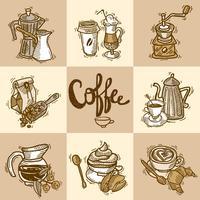 Dekoratives Set für Kaffee vektor
