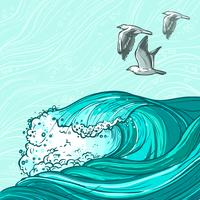 Meereswellen Hintergrund vektor