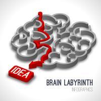 Hjärn labyrint infographics vektor