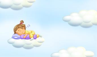 Liten tjej sover på flytande moln