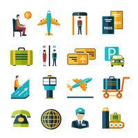 Flygplats ikonuppsättning vektor