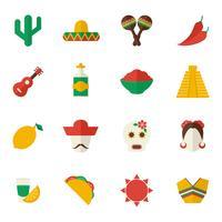Mexiko platt ikoner uppsättning