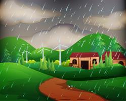 Scen med hus i regnet