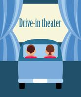 Drive-in teater platt illustration. vektor