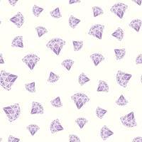 Seamless mönster av geometriska lila rosa diamanter på vit bakgrund. Trendiga hipster kristaller design.