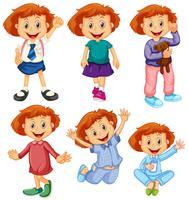 Glückliches Mädchen in sechs Kostümen