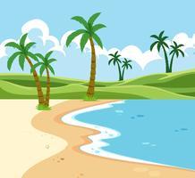 Eine tropische Strandlandschaft vektor