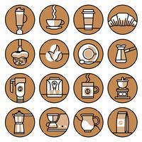 Kaffe ikoner brunt linje set