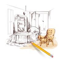 Schlafzimmer-Skizze-Innenraum