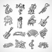 Jazz ikoner skiss vektor
