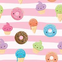 Söt sömlöst mönster med sötsaker