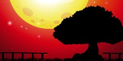 Bakgrundsscen med stort träd och röd himmel