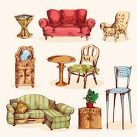 Möbler skiss färgad