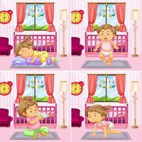 Vier Szenen von Kleinkindmädchen im Schlafzimmer