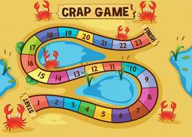 Boardgame-Vorlage mit Krabben auf dem Sand vektor