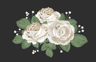 Retro bukettdesign. Vita rosor med löv och bär på svart bakgrund. Tender blommig vektor illustration i vintage akvarell stil.