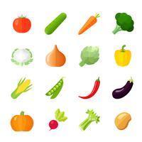 Grönsaker Ikoner Flat