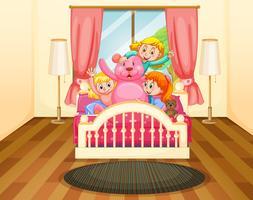 Tre tjejer i sovrum med rosa teddybjörn vektor