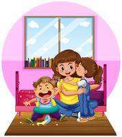 Mor och två barn i sovrummet vektor