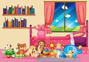 Många leksaker och böcker i sovrummet vektor