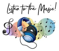 Lyssna på musikfrasen och hörlurarna i bakgrunden
