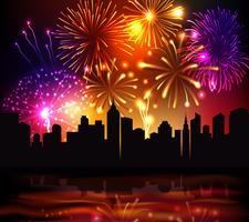 Feuerwerk-Stadt-Hintergrund vektor