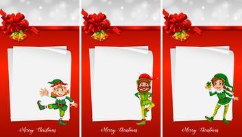 Weihnachtsnotizschablone mit Elf vektor