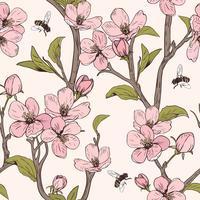 Blühender Baum Nahtloses Muster mit Blumen. Frühlingsblumenbeschaffenheit. Handgezeichnete botanische Vektor-Illustration
