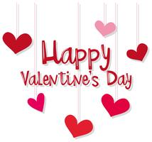 Velentiner Kartenschablone mit den roten und rosa Herzen