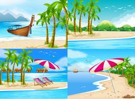 Fyra havscener med kokosnötter vektor