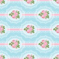 Shabby chic rosa sömlöst mönster på blå bakgrund
