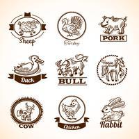 uppsättning lantbruksetiketter