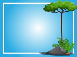 Grenzschablone mit Baum und Felsen vektor