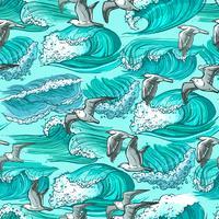 Nahtlose Muster der Meereswellen vektor
