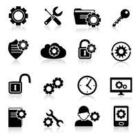 Inställningar ikoner svart