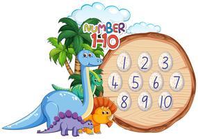 Nummer bis zehn Dinosaurier-Thema vektor