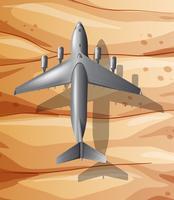 Ein Flugzeug, das über Wüste fliegt