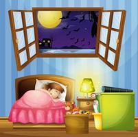 Liten tjej sover i sovrummet