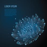 Kreative polygonale Blume auf dunkelblauem Hintergrund. Wissenschafts- und Beauty-Innovationskonzept im Low-Poly-Drahtmodell