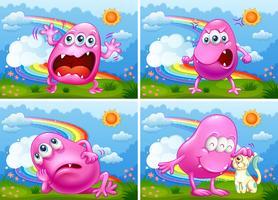 En uppsättning av rosa monster vektor