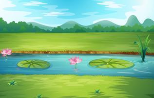 Vacker natur flodlandskap vektor