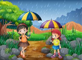 Regnsäsong med två tjejer i parken